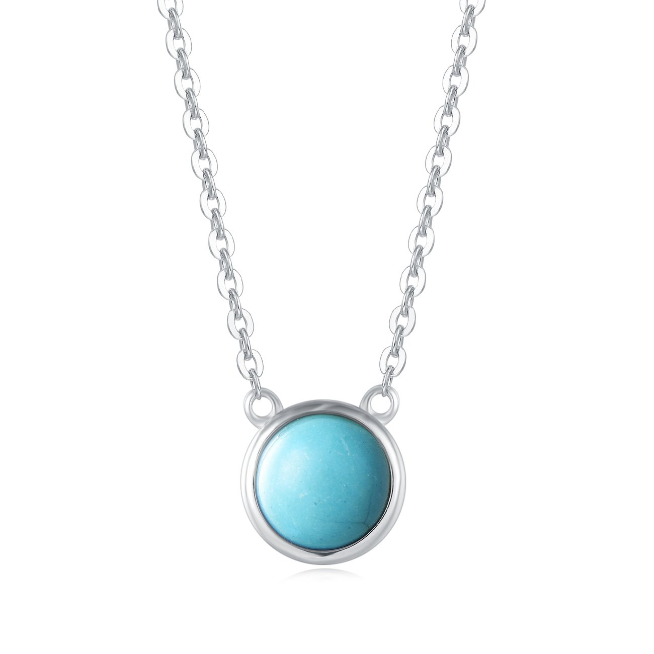 Carleen 18K White Gold Plated 925 Sterling Silver Round Created Turquoise Dainty Pendant Necklace for Women Girls with Silver Chain 16''+2'' Extender