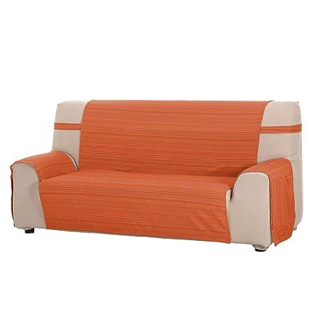 Funda Cubre Sofá Modelo Darsena, Color Naranja, Medida 3 Plazas – 170cm de Respaldo