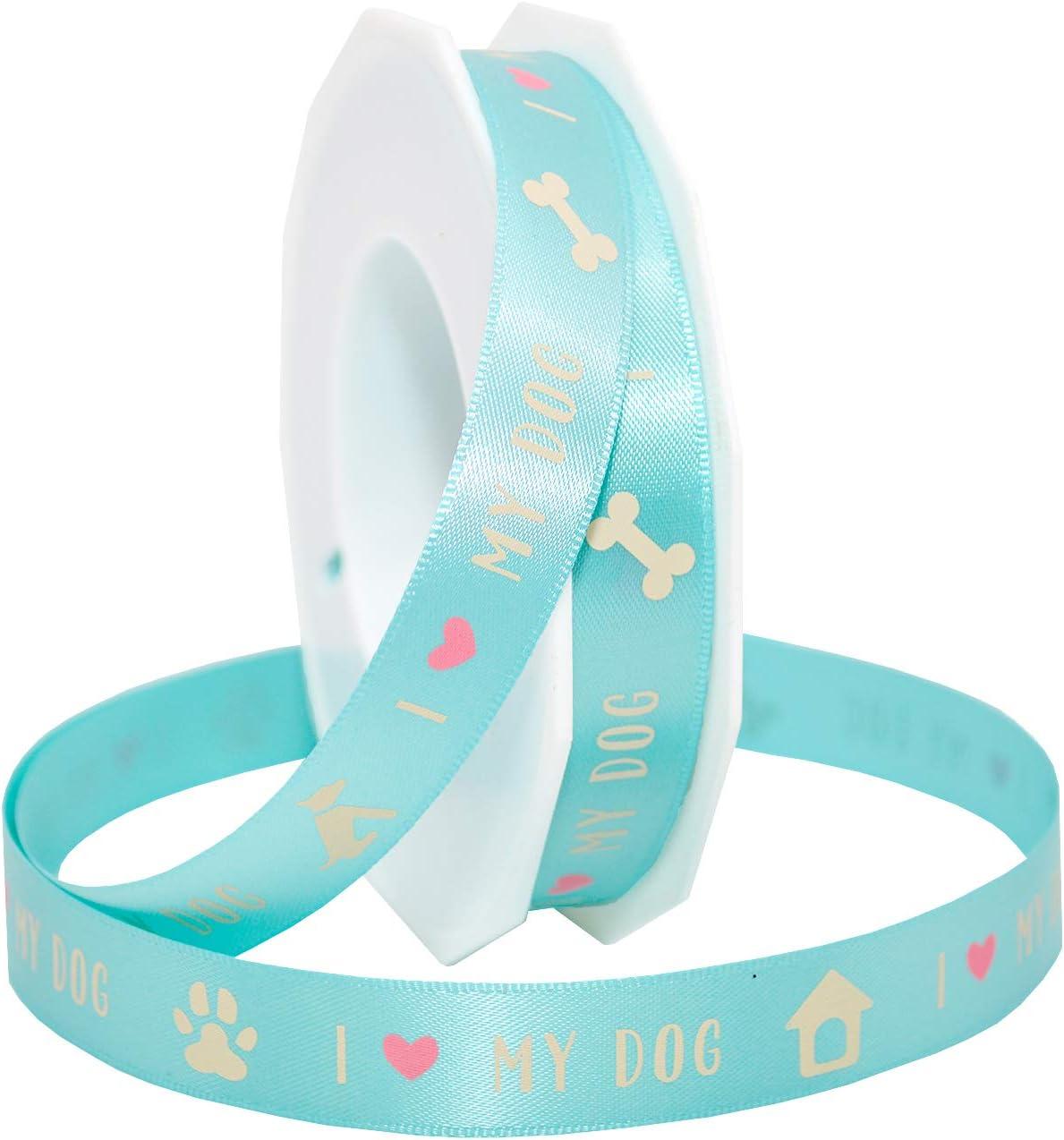 "5 Yards I Love My Dog Pet Satin Ribbon 5//8/""W"