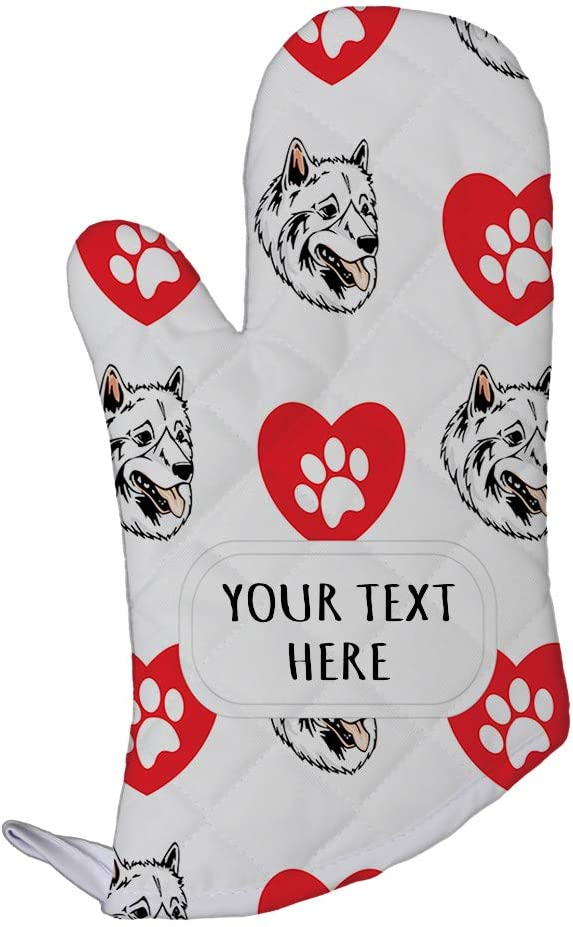 Style In Print Polyester Oven Mitt Custom American Eskimo Dog Heart Paws Pattern Adults Kitchen Mittens