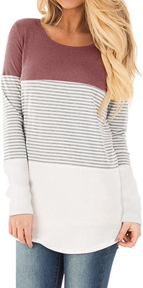 ShallGood Blusas para Mujer Casual Manga Corta Camiseta Blusa Elegante Cuello Redondo Rayas Camisa Suelto Bloque De Color T-Shirt Tops A Rosa (Manga Larga) ES 42: Amazon.es: Ropa y accesorios