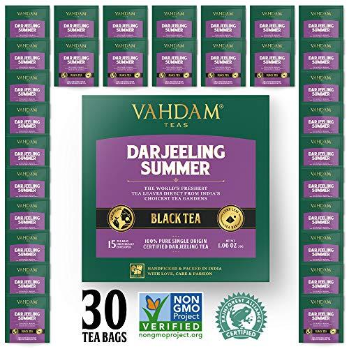 Darjeeling Black Tea from Himalayas (30 Tea Bags) | Medium Caffeine, High Energy Tea | 100% Certified Pure Unblended Darjeeling Tea Bags from India | Brew Hot, Iced or Kombucha Tea