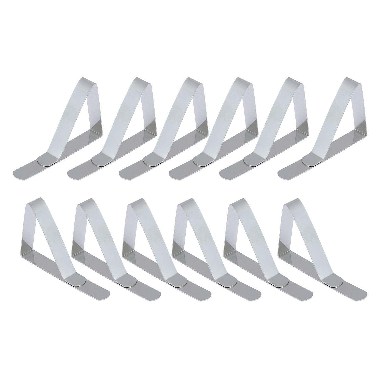 Aolvo 12pezzi fermatovaglia in acciaio INOX porta di morsetti tovaglia da tavolo per feste all' aperto, pic-nic e tabelle di nozze (argento)