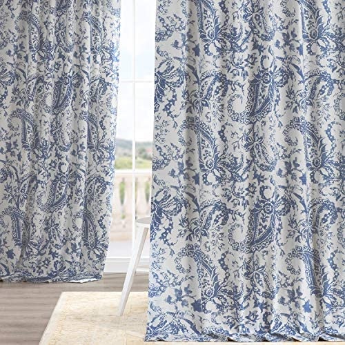 HPD Half Price Drapes PRCT-D09E-120 Printed Cotton Curtain 1 Panel , 50 X 120, Edina Washed Blue
