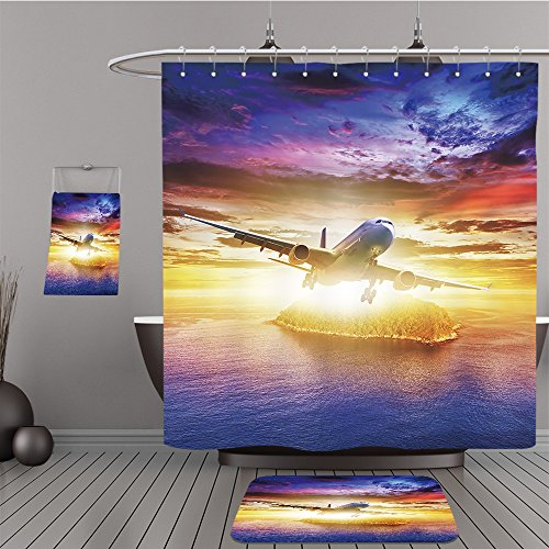 Uhoo Bathroom Suits & Shower Curtains Floor Mats And Bath Towels 104066981 Jet plane over tropical island at sunset time. Square composition For - Island Fashion Macy's