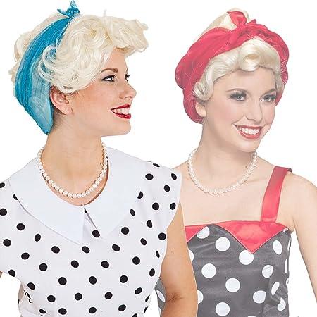 Net Toys Perruque Blonde Cheveux Courts Coiffe Rockabilly Avec Bandana Rouge Cheveux Femme Rocknroll Coiffure Carnaval Look Vintage Postiche Pin Up Annees 50 Moumoute Rockabella Deguisements Et Accessoires Accessoires
