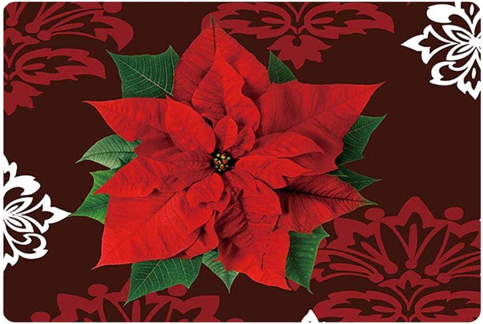 Nopersonality Feliz Navidad felpudo suave entrada camino antideslizante alfombra Poinsettia piso puerta interior exterior multicolor