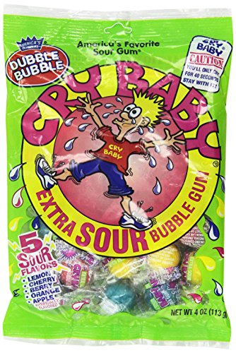 Cry Baby Extra Sour Bubble Gum (4 oz Bags) 3 Pack (Baby Gum Bubble)