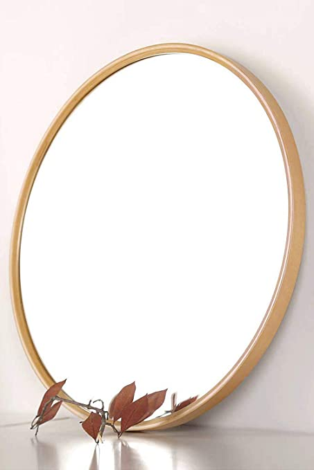 Tinytimes 19 69 Wooden Frame Round Mirror Accent Mirror Wall Mirror Rustic Accent Dresser Mirror Vanity Mirror For Living Rooms Bathroom Home Mirrors Decor Natural Amazon Co Uk Kitchen Home