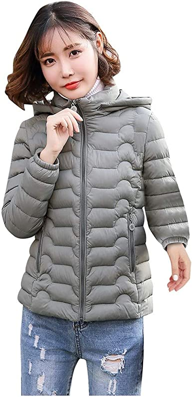 Toamen Pluma Mujer Mujer Ligera Abrigo con Capucha Desmontable ...