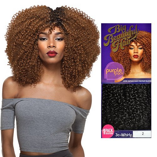 Outre Human Hair Blend Weave Premium Purple Pack 1 Pack Solution Big Beautiful Hair 3C-Whirly (1) (Pack Purple)