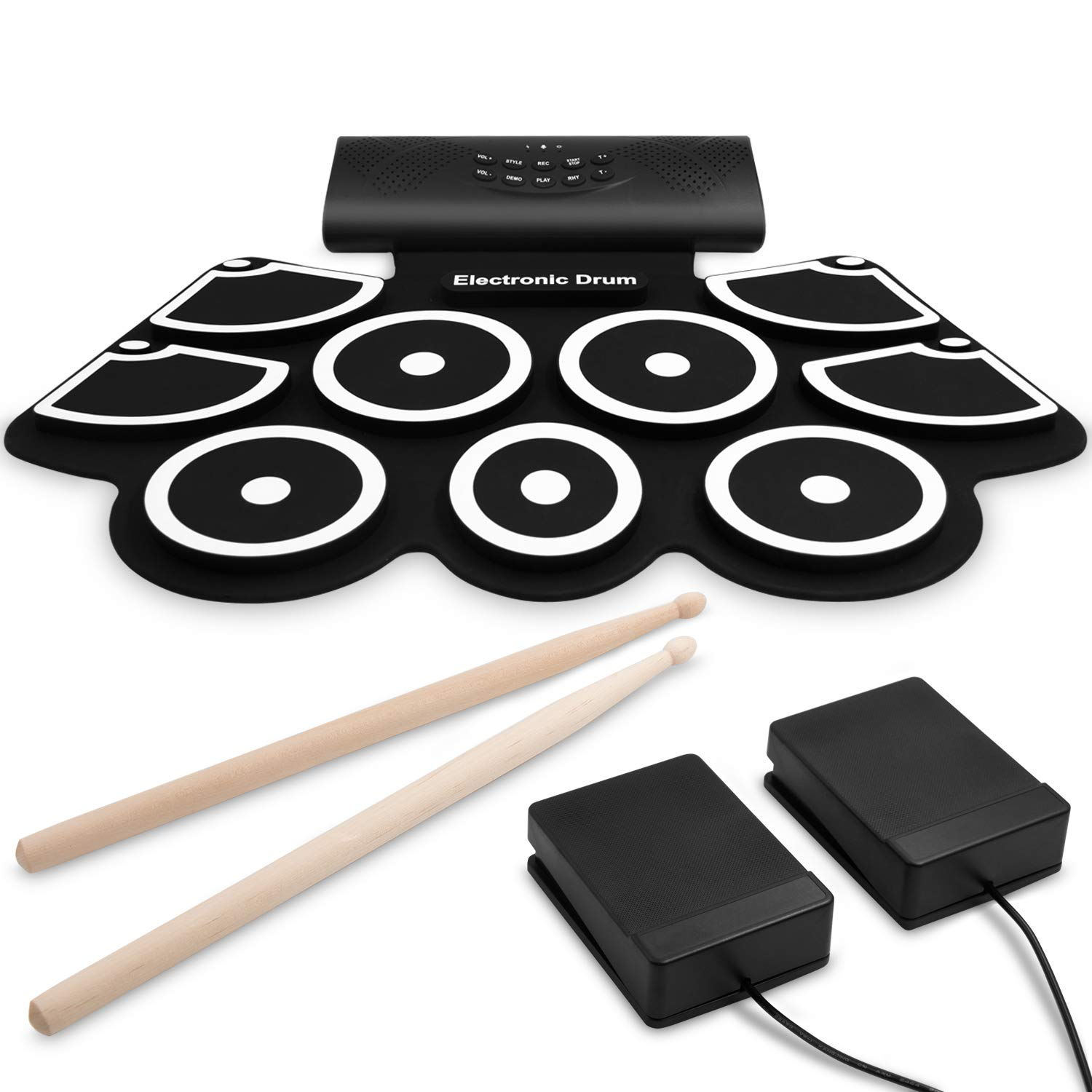 9-Pads Electronic Drum Set [Bluetooth Upgraded Version], Thickened Hand Roll Up Drum Practice Pad, Built in Speakers, Rechargeable Battery, MIDI Function, Great Gift for Kids, Beginner by Veetop
