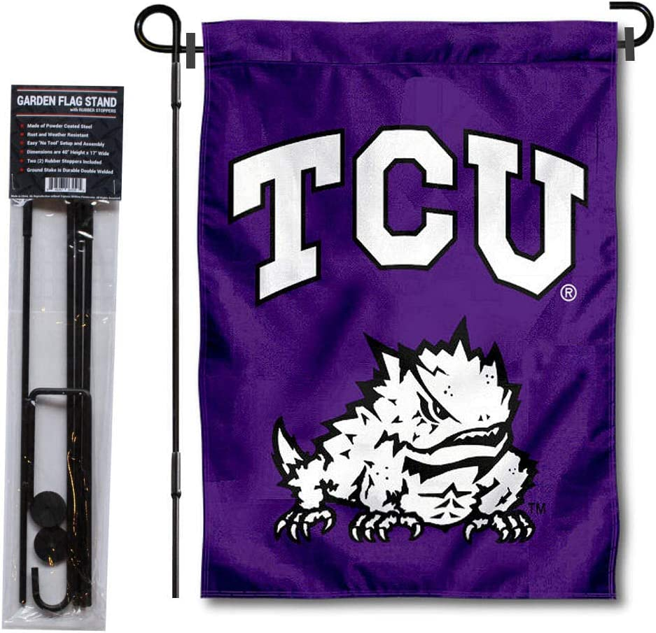 College Flags & Banners Co. Texas Christian University Garden Flag and Flag Stand Pole Holder Set
