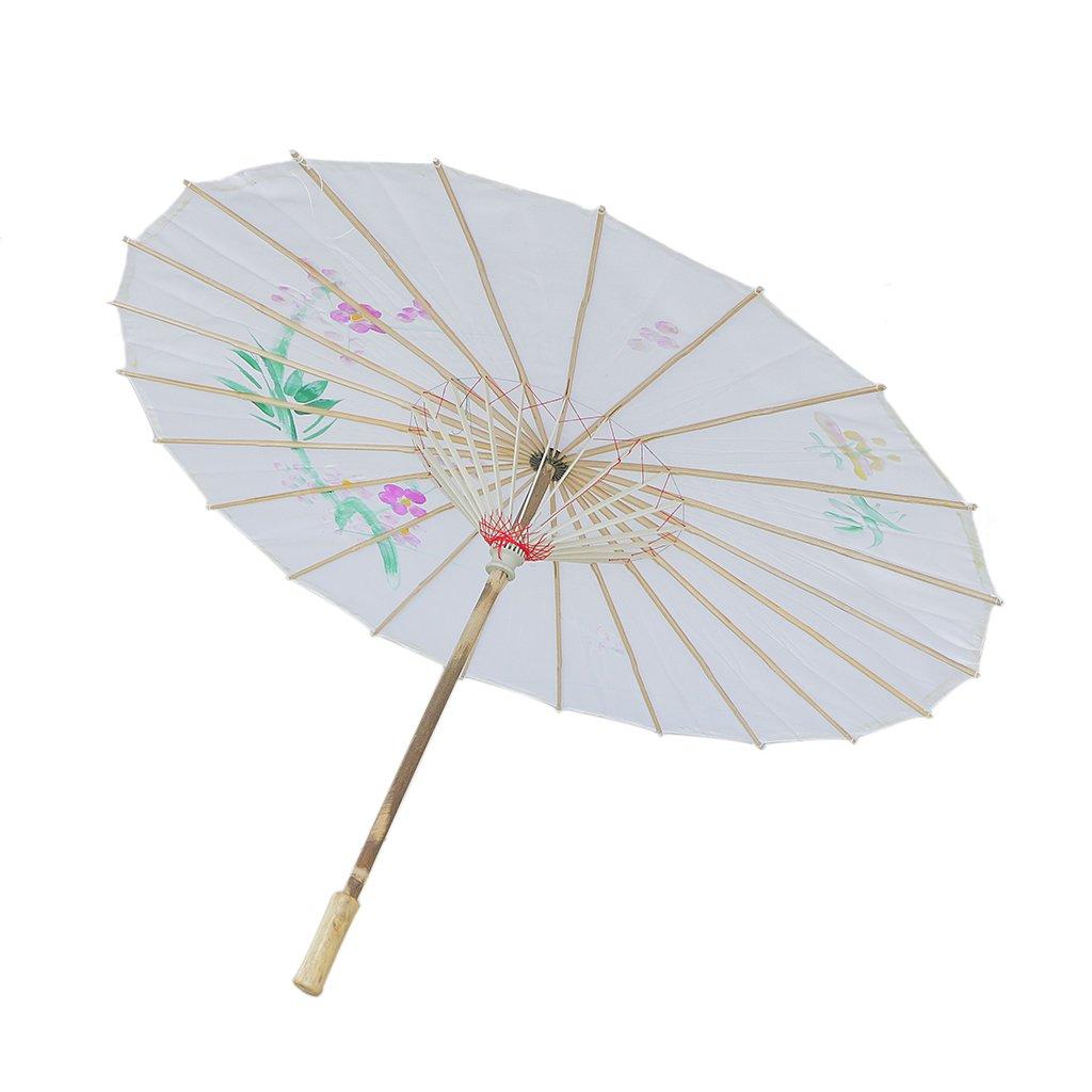 MagiDeal Chinesischen Regenschirm - Asiatischen Sonnenschirm - Tanz Schirm - Tanzen Requisiten - Handgemacht - aus Stoff - Weiß STK0156016948