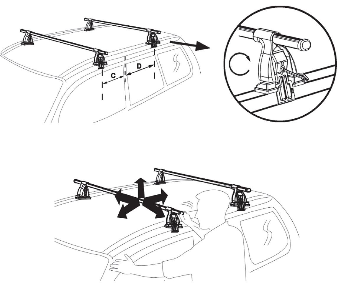 Aurilis Trek CC Roof Rack Rails Aluminium AUR Trekcc Alu NISS 3/T/ÜV//GS Mark