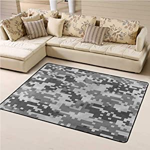Kids Area Rugs Camo for Kids Yoga Living Room Home Decor Rugs Pixel Effect Digital Grey 4' x 6' Rectangle