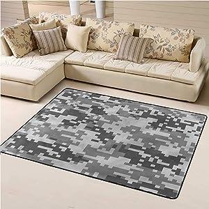 Kids Area Rugs Camo for Kids Yoga Living Room Home Decor Rugs Pixel Effect Digital Grey 4' x 6' Rectangle