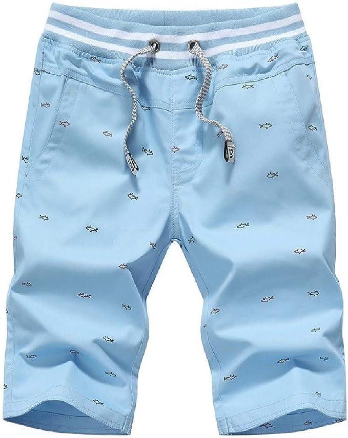 AngelSpace メンズプリントプラスサイズポケットカジュアル薄い100%コットンジョガージムショートパンツ