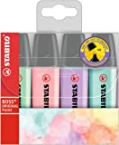 Highlighter - STABILO BOSS ORIGINAL Pastel, Assorted Colours, Wallet of 4