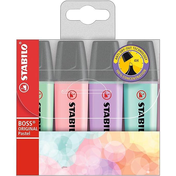 Marcador Pastel STABILO BOSS Original - Estuche con 4 colores pastel