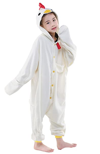 NEWCOSPLAY Unisex Children Chicken Pyjamas Halloween Kids Costume (85)