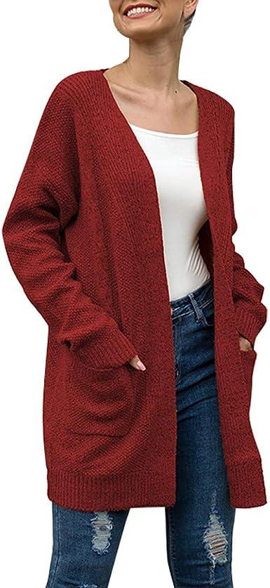 Linkay - Camisa de Manga Larga para Mujer con Bolsillos de Punto y Punto, diseño de Cardigan T Rojo L: Amazon.es: Ropa y accesorios