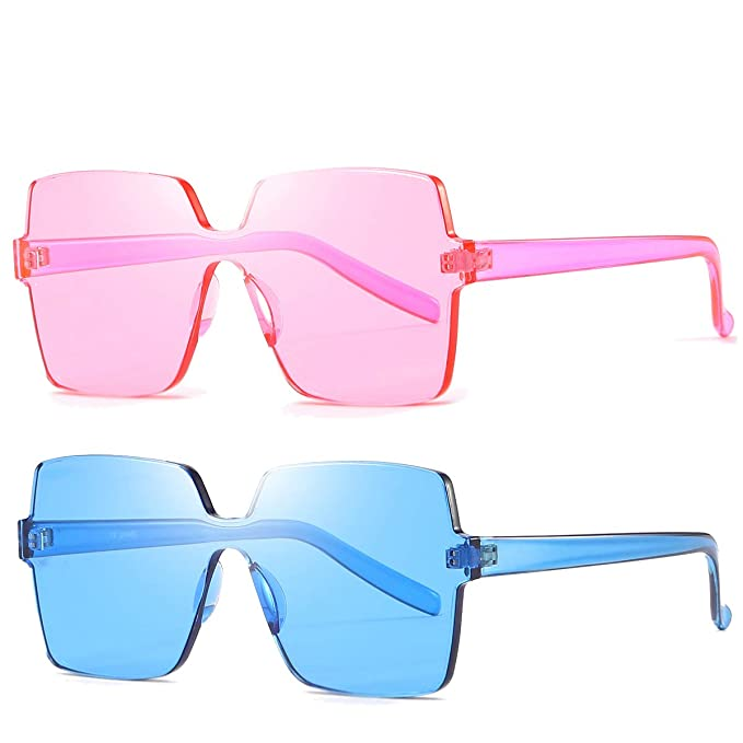 6396fc6b288d1 Oversized Square Candy Colors Transparent Lens Rimless Frame Unisex  Sunglasses (01Pink Blue)