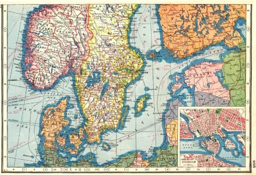 Amazon Com Scandinavia Norway Sweden South Denamrk Estonia Inset Stockholm 1920 Old Map Antique Map Vintage Map Printed Maps Of Scandinavia Posters Prints