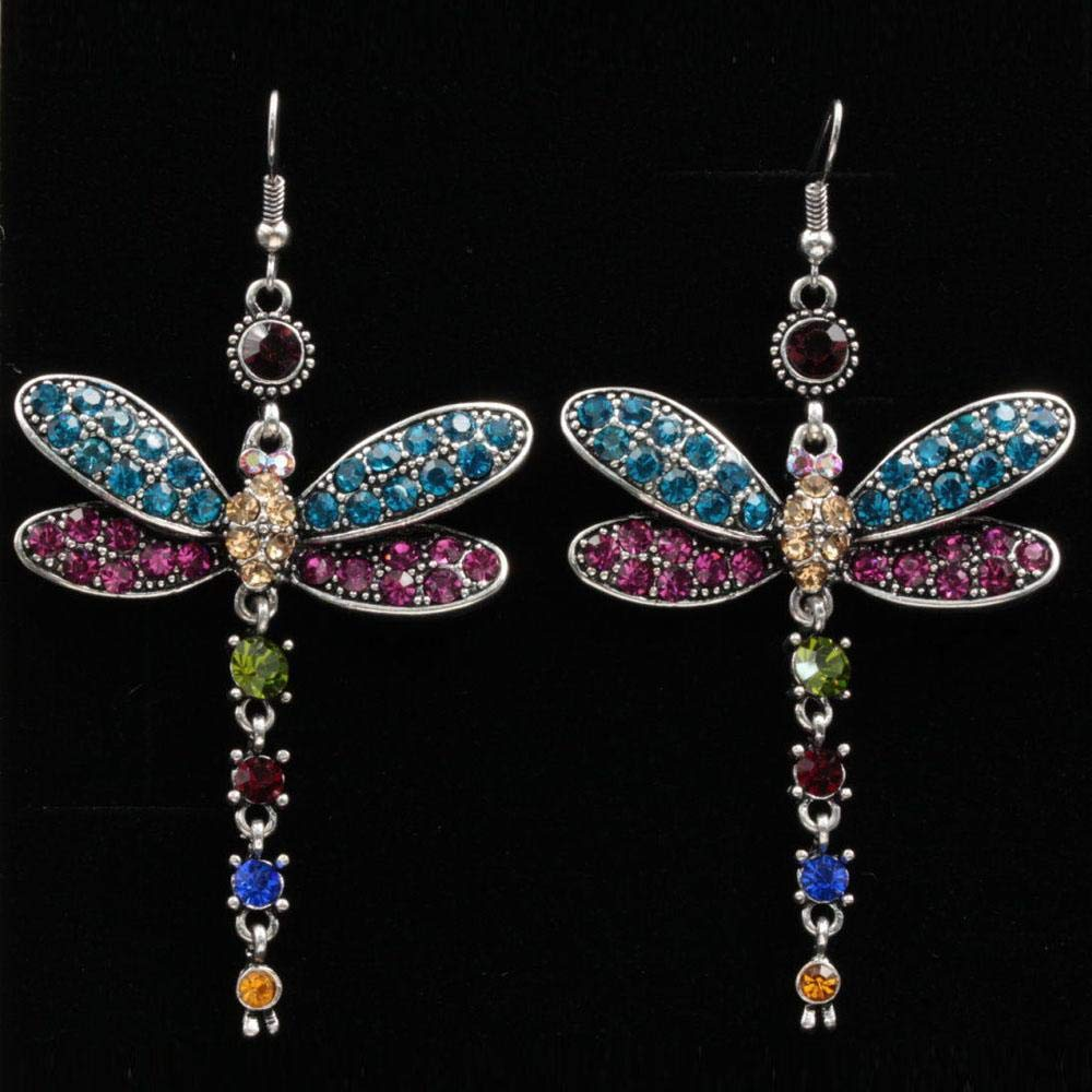 GuGio Gorgeous Colors Dragonfly Crystal Rhinestone Silver Plated Hook Earrings Dangle Earrings