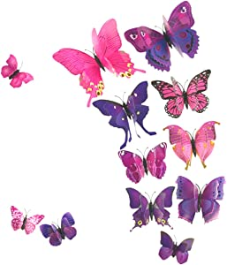 AKOAK 24 Pcs 3D Butterfly Wall Stickers, Double-Layer Wing Butterfly Art Decor Decals with Magnet and Double-Sided Adhesive for Room Home Nursery Decor,Pink/Purple