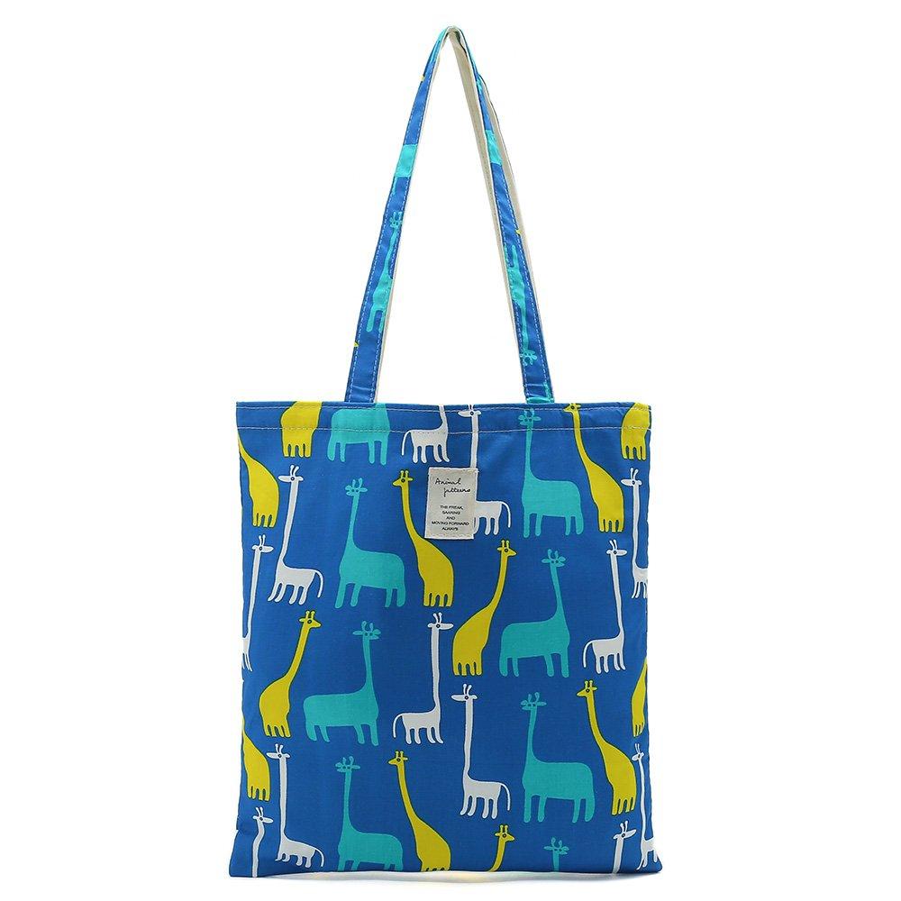 Women's Canvas Tote Shoulder Bag Stylish Shopping Casual Bag Foldaway Travel Bag (L-Giraffe)