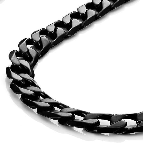 Urban-Jewelry Potente para Hombre Collar Negro 316L Acero Inoxidable Cadena 18