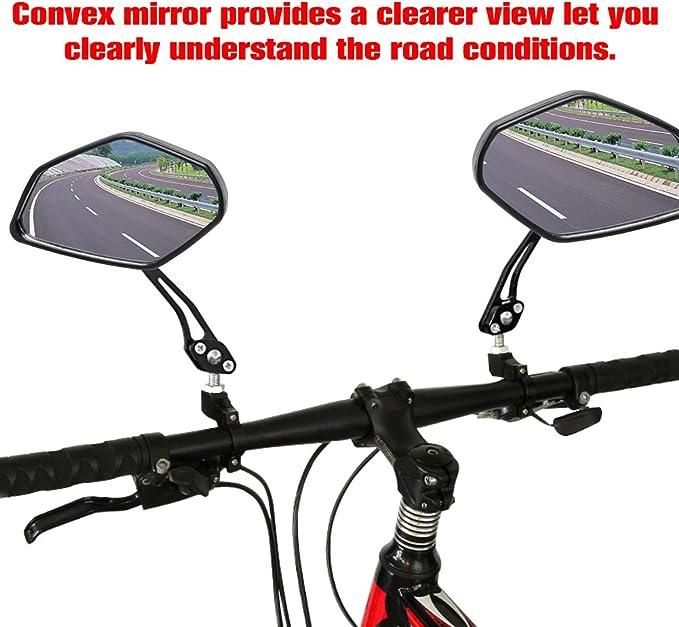 360° A Pair Flexible Handlebar MTB Bike Rearview Motorcycle Mirror Bicycle P8I6