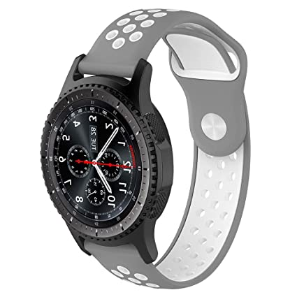 Willibill Gear S3 Bands Soft Silicone Replacement for Band Samsung Gear S3 Frontier/Classic Smart Watch/Huawei Watch 2 Classic Smartwatch (Gray-White, ...