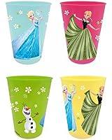 Set de 4 gobelets Disney Frozen La Reine des Neiges en plastiques 4 couleurs Elsa, Anna et Olaf