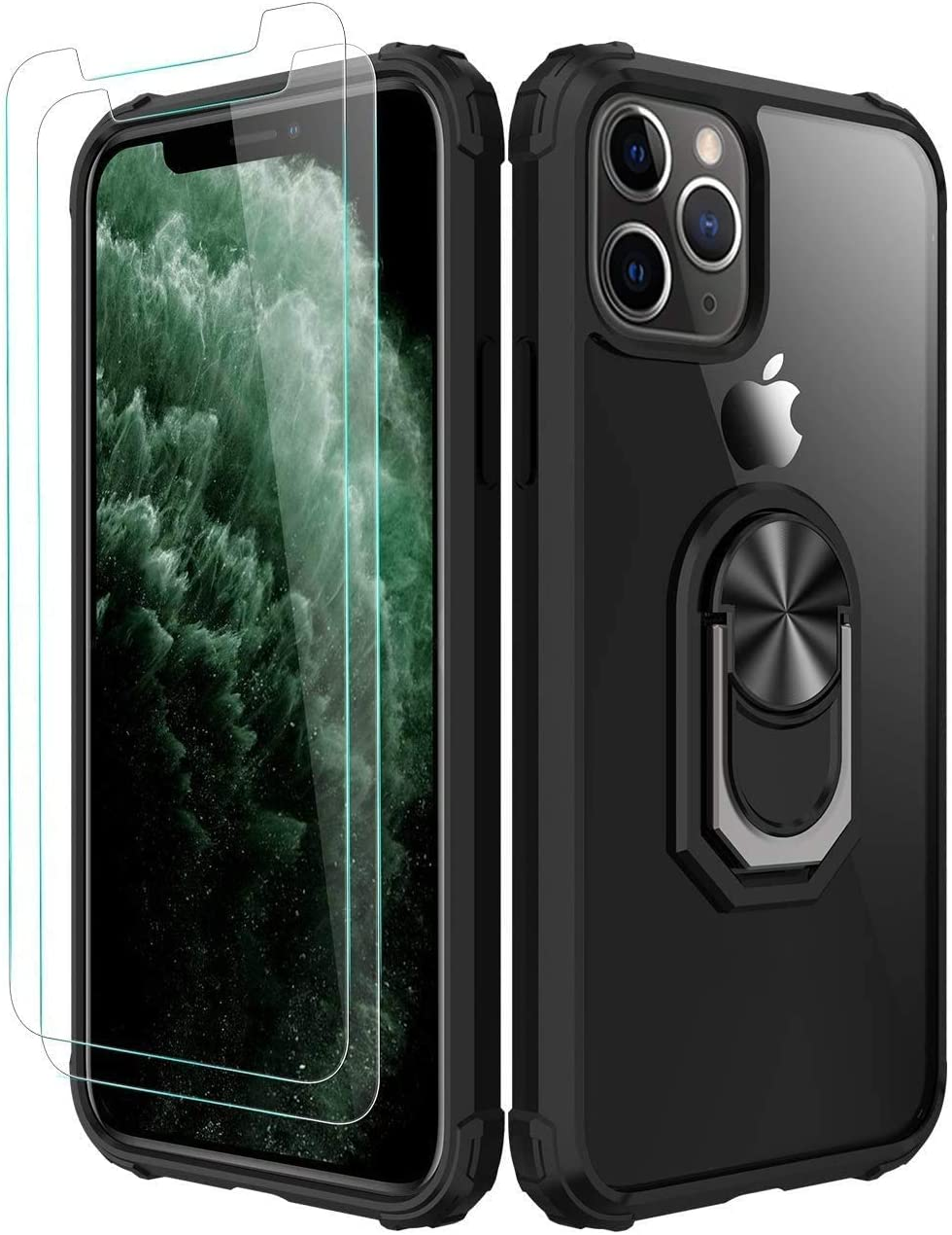 Amuoc iPhone 11 Pro Max Case,[ Military Grade] with [Glass Screen Protector]15ft. Drop Tested Protective Case Kickstand Compatible with Apple iPhone 11Pro Max -Black