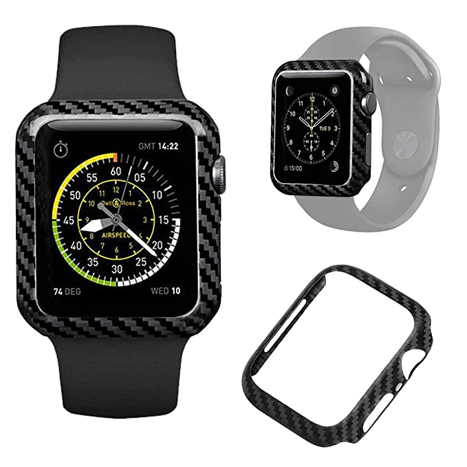 sports shoes ef637 df47b Authentic Carbon Fiber Watch Case for Apple Watch Series 4 44mm,Durable  Shockproof iWatch case High-Gloss/Twill Weave Finish (44mm)