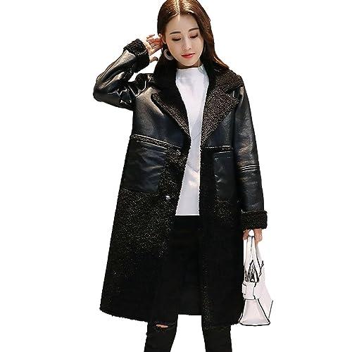 YuanDian Mujer Chaqueta Manga Larga De Cuero Solapa Espesar Cálido Ajustado Larga Abrigo Invierno