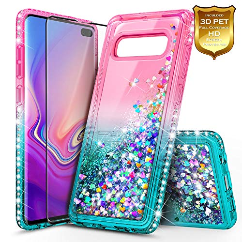 Silicone Design New (Galaxy S10 Plus Case, NageBee Glitter Liquid Sparkle Waterfall Flowing Shockproof Girls Cute Durable Case w/[Full Coverage Premium Soft Screen Protector] for Samsung Galaxy S10+ /S10 Plus -Pink/Aqua)