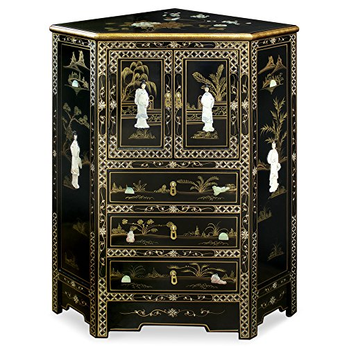 Painted Cabinet Asian - ChinaFurnitureOnline Black Lacquer Corner Cabinet, Hand Painted Scenery with Maiden Motif Mother of Pearl Inlay Cabinet Black