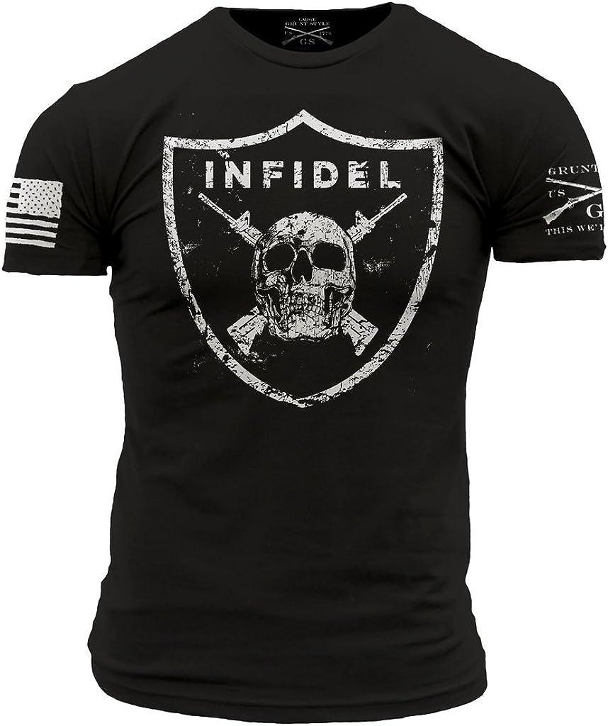 Grunt Style Skull and Crossed Rifles on Shield Men\'s T-Shirt