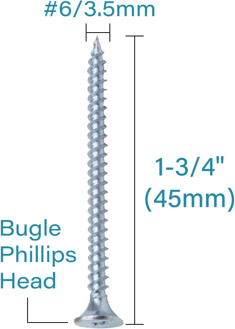 Zinc Coated Carbon Steel 1022A IMScrews 200pcs #6x1-3//4 Flat Head Phillips Drywall Screws Fine Thread Sharp Point Wood Screw Assortment Kit