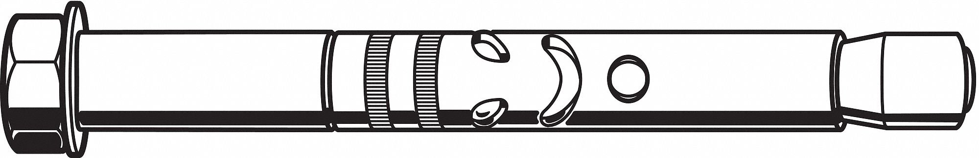 Hex Nut Sleeve Anchor, Steel, 1/4'' Dia., 2-1/2'' L, 10 Thread Size, Zinc Plated