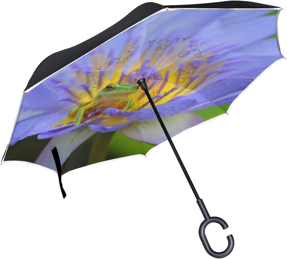 Inverted Umbrella with C-Shaped Handle Large Double Layer UV Protection for Women Outdoor Rain Sun Car Reversible Umbrella
