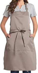 BIGHAS Adjustable Bib Apron with Pocket Extra Long Ties for Women Men, 13 Colors, Chef, Kitchen, Home, Restaurant, Cafe, Cooking, Baking, Gardening (Tan)