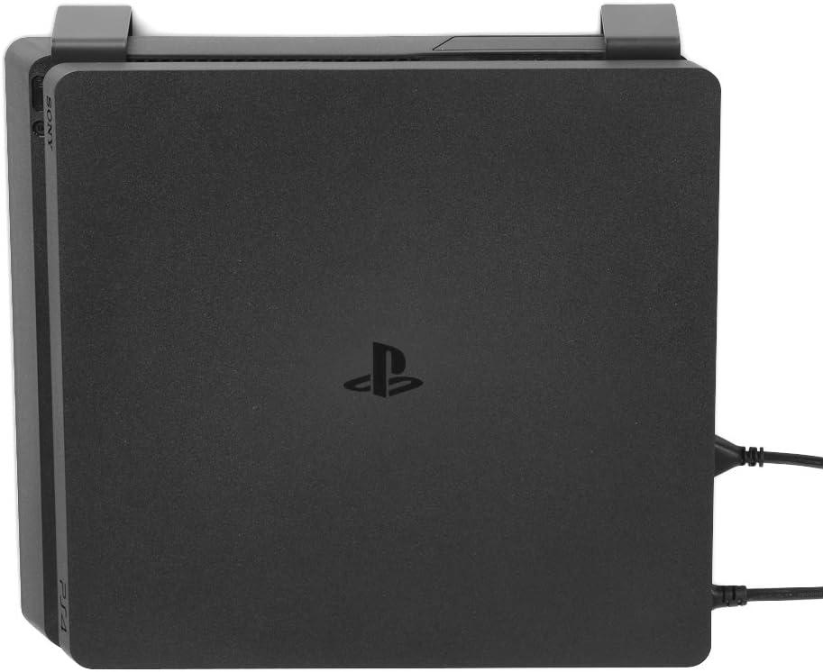 Borangame GameVspace, Soporte de Pared Vertical Compatible con Todos los Modelos de PlayStation 4 PS4 (Primera Serie, SLIM y PRO), Soporte Mural hecho de Metal y con un Soporte de Mando, Negro
