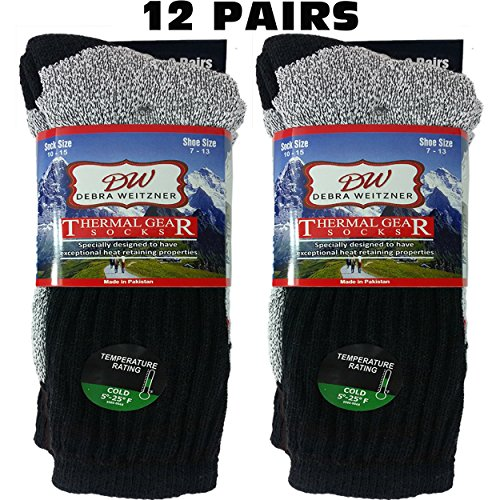 Boot Socks Winter (Mens Thermal Socks Ultra Warm Thick Boot Socks 12-pack Black By DEBRA WEITZNER,Black, 10-15)