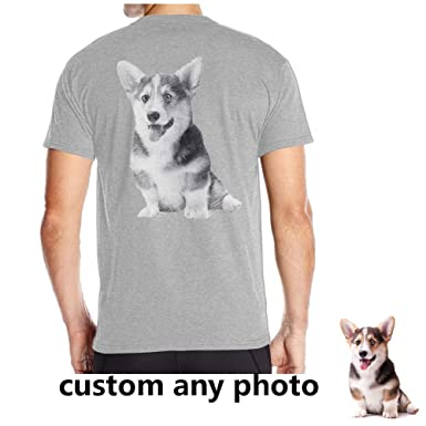 904f5a3c3 Personalized Men's Sketch Photo T-Shirt Custom Tees Design Your Own on Back  for Dog