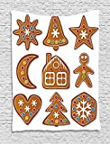 heat lamp for sugar art - XHFITCLtd Gingerbread Man Tapestry, Set of Graphic Gingerbread Sugar Biscuits with Colorful Dots and Bonbons, Wall Hanging for Bedroom Living Room Dorm, 60 W X 80 L Inches, Multicolor