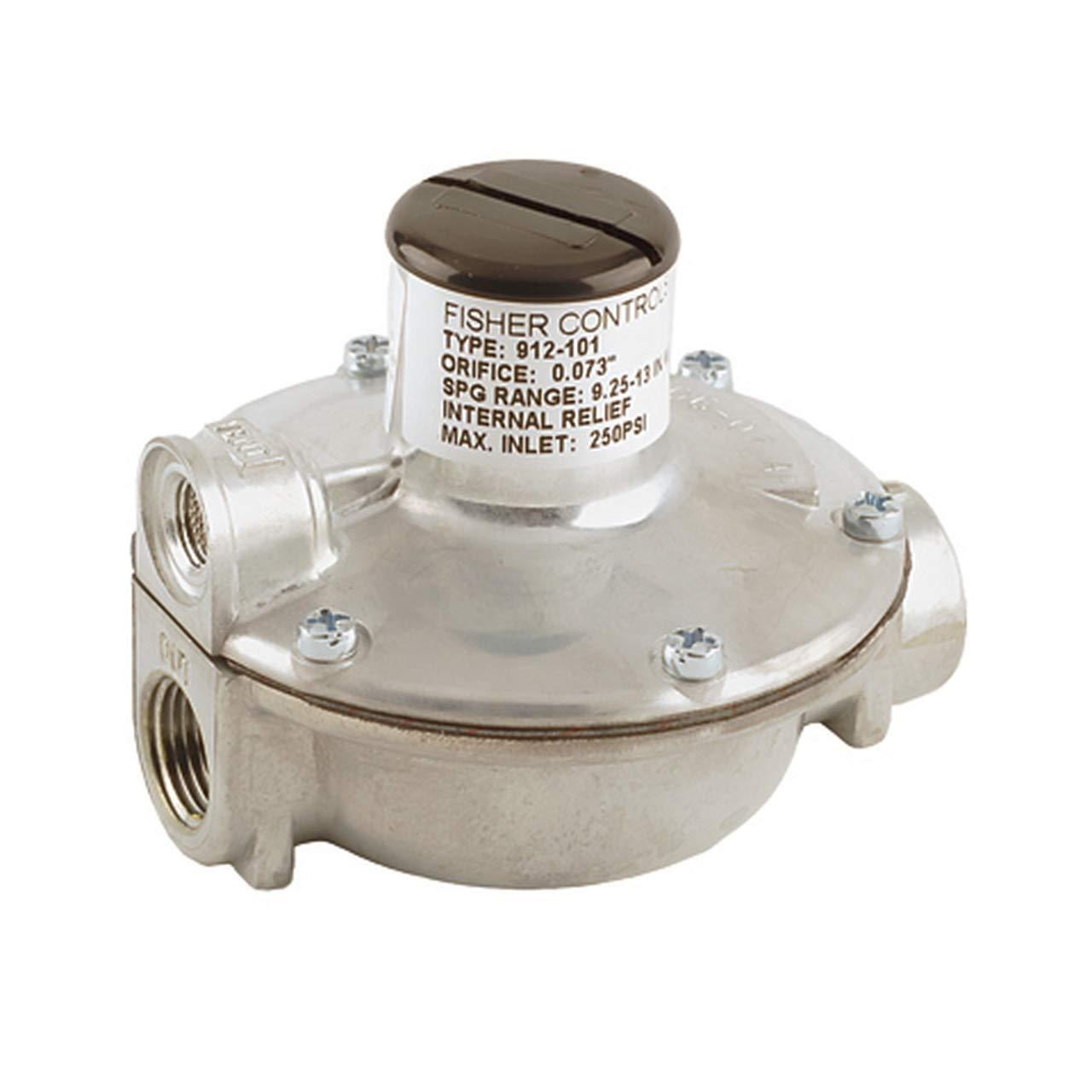 Emerson Fisher 912 Series 1//4 in 123,000K BTU//HR FNPT Single Stage Pressure Reducing Regulator w// 3-7 in FNPT x 3//8 in w.c Spring
